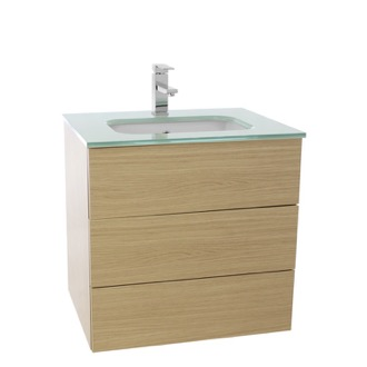 Bathroom Vanity 24 Inch Natural Oak Bathroom Vanity with White Glass Top, Wall Mounted TN27 Iotti TN27