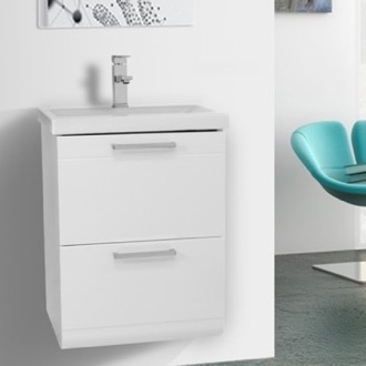 Bathroom Vanity 19 Inch Small Glossy White Wall Mounted Bathroom Vanity with Fitted Sink Iotti LN17