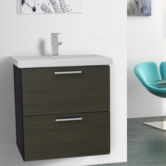 Bathroom Vanity 23 Inch Grey Oak Wall Mounted Vanity with Fitted Sink Iotti LN27