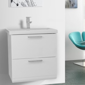 Bathroom Vanity 23 Inch Glossy White Wall Mounted Vanity with Fitted Sink Iotti LN25