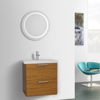 23 Inch Teak Bathroom Vanity, Wall Mounted, Lighted Mirror Included Iotti LN456