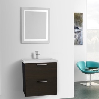 Bathroom Vanity 23 Inch Wenge Bathroom Vanity, Wall Mounted, Lighted Mirror Included Iotti LN458