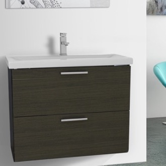 30 Inch Grey Oak Wall Mounted Vanity with Fitted Sink Iotti LN23