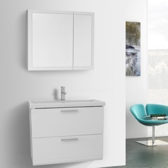Bathroom Vanity 30 Inch Glossy White Wall Mounted Vanity with Fitted Sink, Medicine Cabinet Included Iotti LN101