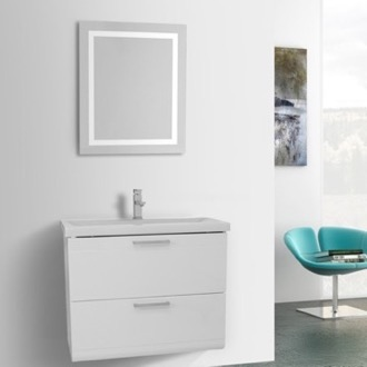 Bathroom Vanity 30 Inch Glossy White Bathroom Vanity, Wall Mounted, Lighted Mirror Included Iotti LN462