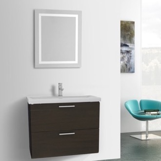 Bathroom Vanity 30 Inch Wenge Bathroom Vanity, Wall Mounted, Lighted Mirror Included Iotti LN463