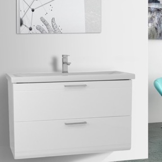Bathroom Vanity 38 Inch Glossy White Wall Mounted Vanity with Fitted Sink Iotti LN29
