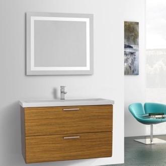 Bathroom Vanity 38 Inch Teak Bathroom Vanity, Wall Mounted, Lighted Mirror  Included Iotti LN466