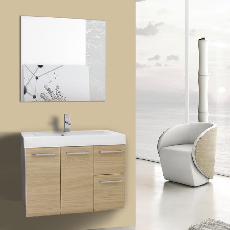 Bathroom Vanity 30 Inch Natural Oak Wall Mounted Vanity with Ceramic Sink, Mirror Included Iotti MC27