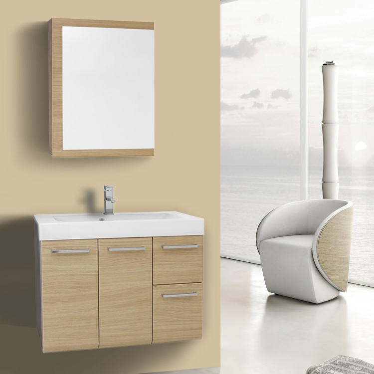 Bathroom Vanity 30 Inch Natural Oak Wall Mounted Vanity with Ceramic Sink, Medicine Cabinet Included Iotti MC39
