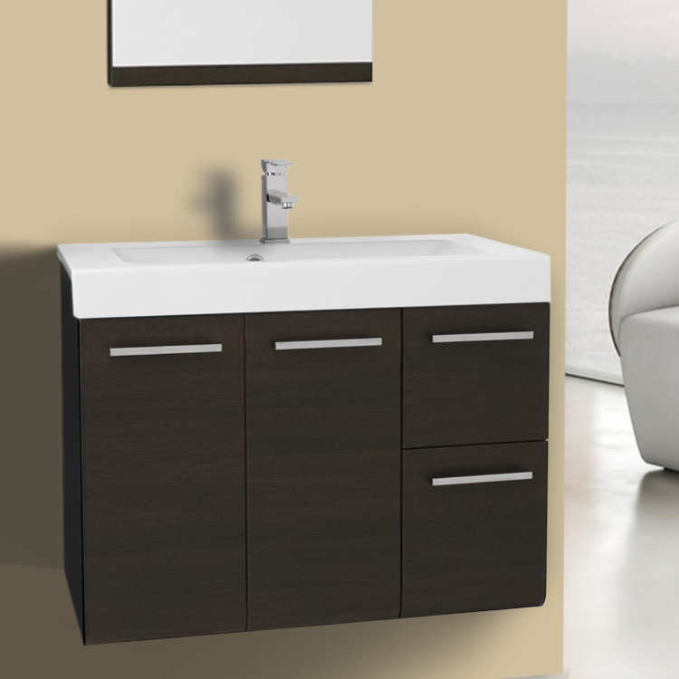 30 Inch Vanity Cabinet with Self Rimming Sink Iotti LE3C-Wenge