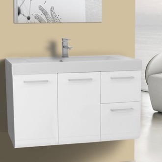 38 Inch Vanity Cabinet with Self Rimming Sink Iotti LE1C-Glossy White