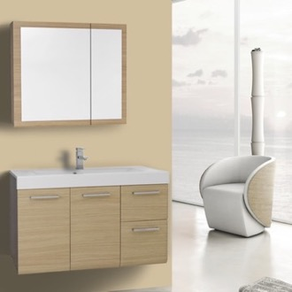 Bathroom Vanity 38 Inch Natural Oak Wall Mounted Vanity with Ceramic Sink, Medicine Cabinet Included Iotti MC42
