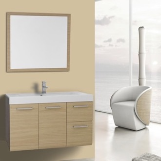 Bathroom Vanity 38 Inch Natural Oak Wall Mounted Vanity with Ceramic Sink, Mirror Included Iotti MC36