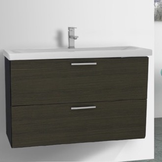Bathroom Vanity 38 Inch Grey Oak Wall Mount Bathroom Vanity Set Iotti LN31