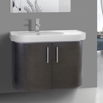 34 Inch Curved Grey Oak Wall Bathroom Vanity with Fitted Sink, 2 Doors Iotti RC08