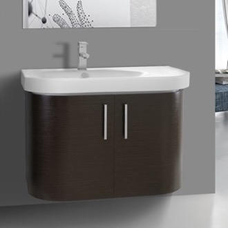 34 Inch Curved Wenge Wall Bathroom Vanity with Fitted Sink, 2 Doors Iotti RC07