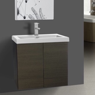 23 Inch Grey Oak Bathroom Vanity with Ceramic Sink Iotti SE10