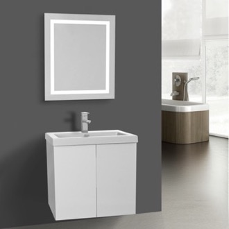Bathroom Vanity 23 Inch Glossy White Bathroom Vanity, Wall Mounted, Lighted Mirror Included Iotti SE536