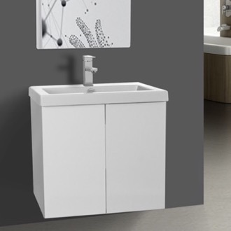 Bathroom Vanity 23 Inch Glossy White Bathroom Vanity with Ceramic Sink Iotti SE08