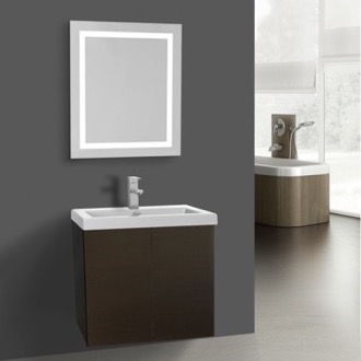 Bathroom Vanity 23 Inch Wenge Bathroom Vanity, Wall Mounted, Lighted Mirror Included Iotti SE539