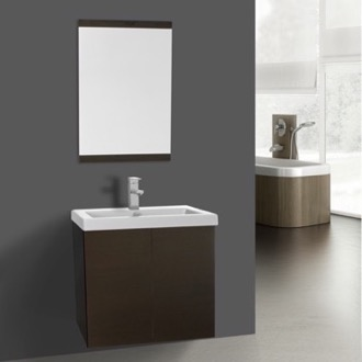 Bathroom Vanity 23 Inch Wenge Bathroom Vanity with Ceramic Sink, Mirror Included Iotti SE93