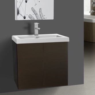 23 Inch Wenge Bathroom Vanity with Ceramic Sink Iotti SE09