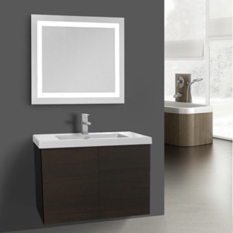 Bathroom Vanity 23 Inch Wenge Bathroom Vanity, Wall Mounted, Lighted Mirror Included Iotti SE551