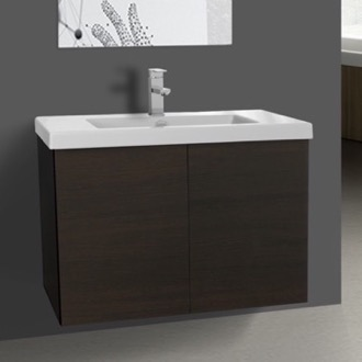 Bathroom Vanity 31 Inch Wenge Bathroom Vanity with Ceramic Sink Iotti SE12