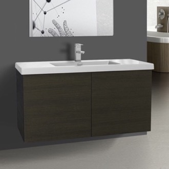 Bathroom Vanity 39 Inch Grey Oak Bathroom Vanity with Ceramic Sink Iotti SE19