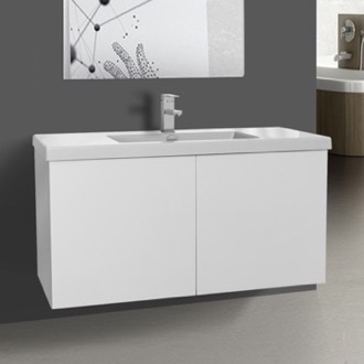 Bathroom Vanity 39 Inch Glossy White Bathroom Vanity with Ceramic Sink Iotti SE17