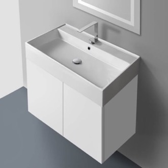 31 Inch Vanity Cabinet with Self Rimming Sink Iotti SM03C-Glossy White