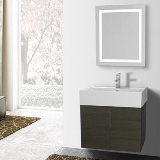 23 Inch Grey Oak Bathroom Vanity, Wall Mounted, Lighted Mirror Included Iotti SM227
