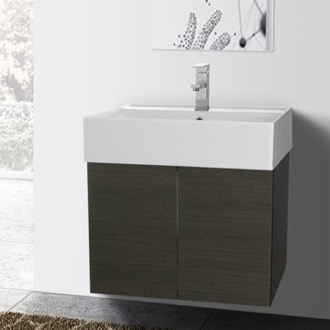 23 Inch Grey Oak Bathroom Vanity with Ceramic Sink Iotti SM09