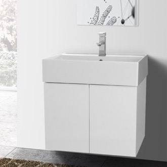 Bathroom Vanity 23 Inch Glossy White Bathroom Vanity with Ceramic Sink Iotti SM07