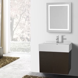 Bathroom Vanity 23 Inch Wenge Bathroom Vanity, Wall Mounted, Lighted Mirror Included Iotti SM233