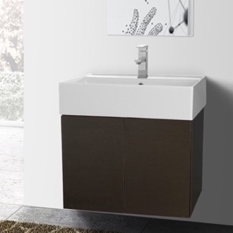 23 Inch Wenge Bathroom Vanity with Ceramic Sink Iotti SM08