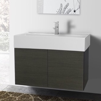 31 Inch Grey Oak Bathroom Vanity with Ceramic Sink Iotti SM11