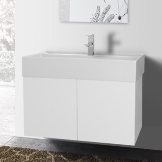 31 Inch Glossy White Bathroom Vanity with Ceramic Sink Iotti SM10