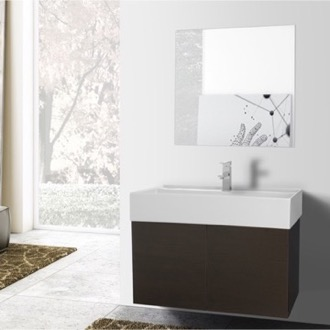 Bathroom Vanity 31 Inch Wenge Bathroom Vanity with Ceramic Sink, Mirror Included Iotti SM77