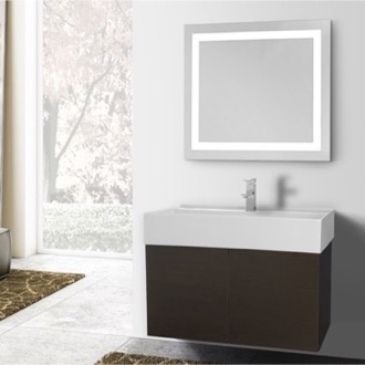 Bathroom Vanity 31 Inch Wenge Bathroom Vanity, Wall Mounted, Lighted Mirror Included Iotti SM241