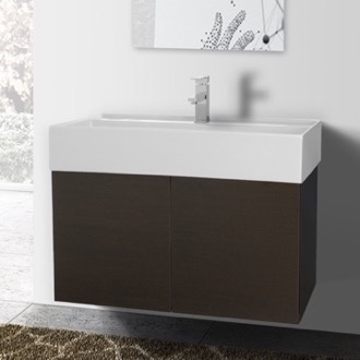 31 Inch Wenge Bathroom Vanity with Ceramic Sink Iotti SM12