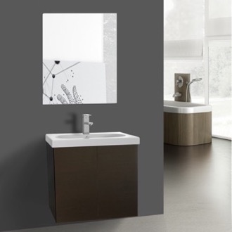 Bathroom Vanity 23 Inch Wenge Bathroom Vanity with Ceramic Sink, Mirror Included Iotti TR61