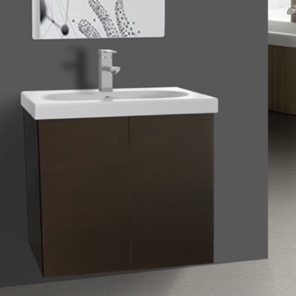 Bathroom Vanity 23 Inch Wenge Bathroom Vanity with Ceramic Sink Iotti TR05