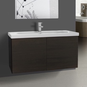 Bathroom Vanity 39 Inch Wenge Bathroom Vanity with Ceramic Sink Iotti TR11