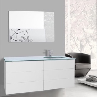 Bathroom Vanity 47 Inch Glossy White Bathroom Vanity with White Glass Top, Wall Mounted, Mirror Included Iotti TN1684