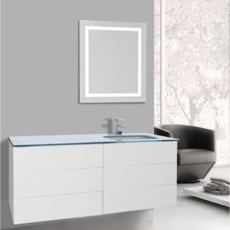 Bathroom Vanity 47 Inch Glossy White Bathroom Vanity, Wall Mounted, Lighted Mirror Included Iotti TN3127