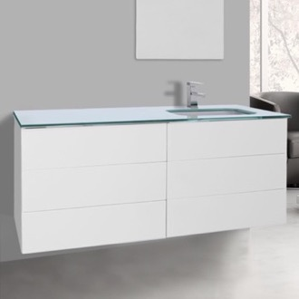 Bathroom Vanity 47 Inch Glossy White Bathroom Vanity with White Glass Top, Wall Mounted Iotti TN181