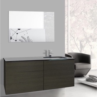 Bathroom Vanity 47 Inch Grey Oak Bathroom Vanity with Black Glass Top, Wall Mounted, Mirror Included Iotti TN1720