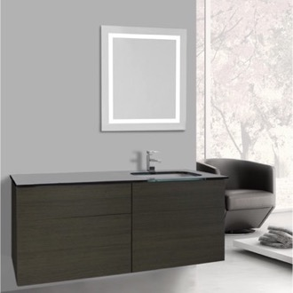 Bathroom Vanity 47 Inch Grey Oak Bathroom Vanity, Wall Mounted, Lighted Mirror Included Iotti TN3131
